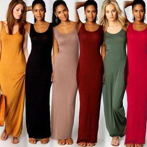 Sıcak Yaz Tasarımcı Elbise Şık Seksi Yeni Moda Kulübü Yelek Tank Parti Elbise Sıcak Satış Uzun Maxi Giydirme Plus Size Robe 10 Renkler Womens