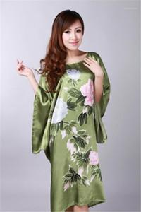 O verão esfria Flora Pijamas tradicional Mulheres seda chinesa Rayon Robe da forma das mulheres O pescoço Sleepshirts Womens