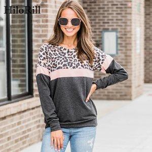 HiloRill mujeres camiseta de rayas leopardo remiendo camiseta de Otoño 2020 del O cuello jersey Hembra ocasional de Calle Arriba