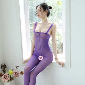 sling garza di seta trasparente sling seta stockingsopen calze sexy in flash calze nere affascinante biancheria intima sexy Shiny