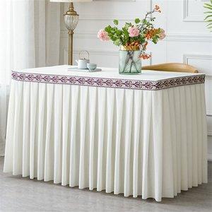 Una pieza del partido plisado franela Hotel Table Tabla falda con la cubierta del paño decoración de la boda banquete