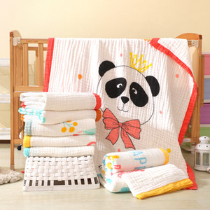120X150CM Pure Cotton Six Layer Gauze Bath Towel Cartoon Cute Panda Blanket Newborn Safe Swaddle Baby Comfortable Stroller Wrap