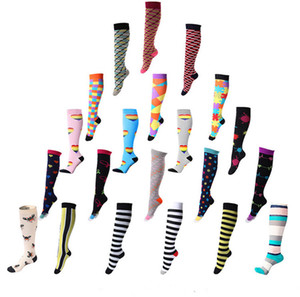 Compression Knee High Socks dot printed nylon sports running socks Best for Anti Fatigue Pain 100pars NS1001