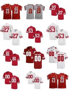Wisconsin Badgers Koleji 27 Rafael Gaglianone 81 Troy Fumagalli 53 TJ Edwards YENİ Kırmızı Beyaz Dikişli Mens Futbol Formalar boyut S-3XL