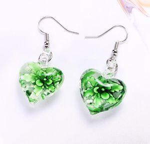 Hot Sale Peony Flower Love Fluorescent Glass Pendant Earrings European and American Fashion New Earrings WY1415