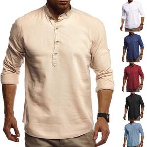 Дизайнер Mens Casual рубашки Сыпучие Stand Collar льняное Рубашка Vintage Сплошной цвет пуловер осень с длинным рукавом Открытый Мужчины Одежда Плюс Размер