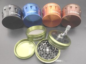 wholesale Herb Crusher Metal Grinders 63mm 4 Parts Sharpstone Grinders Aluminium Alloy Lighting hand crank tobacco grinder With Clear Top