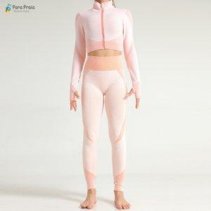 Para Praia дышащий Запуск костюм крючком Йога Установить с длинным рукавом Спортивная одежда Фитнес Женщины Gym Леггинсы Hip Lift Workout