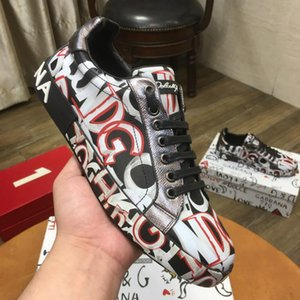 2019 autumn and winter new European and American style men s shoes leather printed color thick bottom with high-top shoes couple models