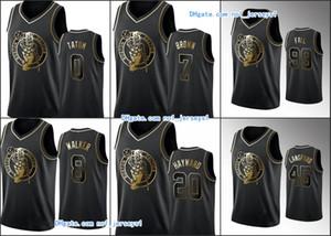 BostonCelticsMen Jayson Tatum Kemba Walker Gordon Hayward Jaylen Tacko Fall BrownNBA Black Golden Edition basketball Jersey