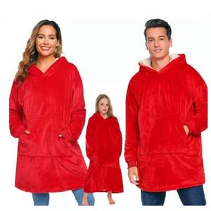 Winter Hooded TV Blankets With Sleeves Adult Outdoor Pocket Hoodie Coral Fleece Sherpa Oversized Hoody Plush Sweatshirt Blanket