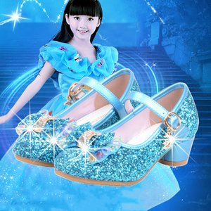 Princess Kids Leather Shoes For Girls Flower Casual Glitter Children High Heel Girls Shoes Butterfly Knot Blue Pink Silver Y200619