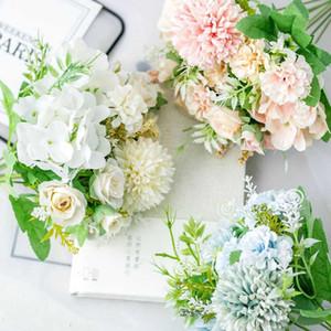 Silk Hydrangeas Artificial Flowers White Wedding Artificial Flowers Bouquet Fake Flower Party for Home Decoration Dried