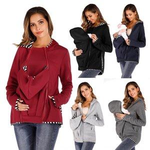 b5Z7T Multi-functional mother kangaroo hooded long sleeve parenting bag Multi-functional mother kangaroo hooded Top sweater long sleeve swea