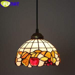 FUMAT Tiffany Pendant Lamp Pear Apple Grape Drawing Stained Glass Gemstone Lampshade Light Multi Color Home Decor Handcraft Arts