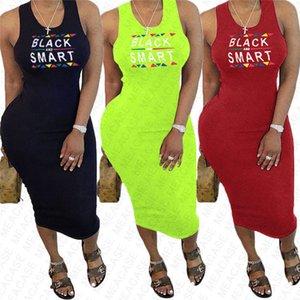 BLACK SMART Lettre Imprimé femmes robe d'été Designer Robes sexy moulante manches plage Casual plissés Robes Vêtements S-XXL D7608