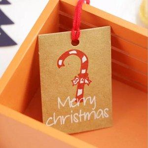 Cartes de Noël Festival d'hiver de voeux Carte Cadeaux Carte heureuse de vacances Invitations décor rouge Chapeau de Père Noël Arbre de Noël flocon de neige LJJA1185