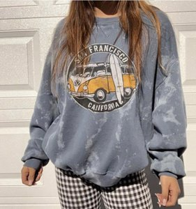 2WPf8 2020 new casual round neck loose car printing basic 2020 new women's casual round neck loose car sweater printing basic women's sweate