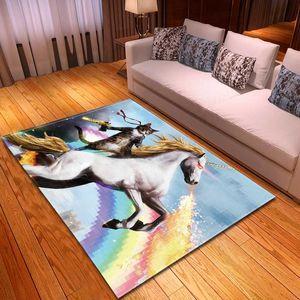 Salon Modern Dekor Halı Koltuk Alan Kilim Atlar Desen Shoebox Mat Dekor Başucu Mutfak Kilim Çocuk Oyun Halılar