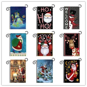 Garden Christmas Flags Santa Festival Decor Holiday Party Decoration Banner Ornament Indoor Outdoor Pennon Courtyard Hanging Flag