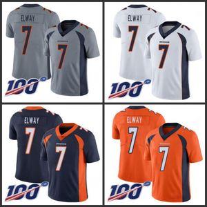 DenverBroncosHommes # 7 John Elway orange femmes hommes jeunes CousuNFL limitée Rush 100ème saison Jersey