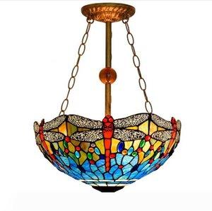 Europeu Tiffany Retro vitral Pendant Light Barroco Lâmpada de suspensão Fixação Sala Restaurante Chandelier