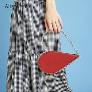 Diamond Red Heart Evening Clutch Bags Women 2020 Designer Chic Rhinestone Metal Handle Black Purse For Wedding Party Sac A Main