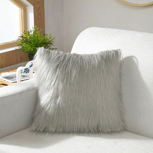 long Artificial Wool Fur Sheepskin Cushion Cover Hairy Faux Plain Fluffy Soft Throw Pillowcase Washable Solid Pillow Case db2V#