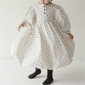 INS Spring Autumn Little Girls Dresses Lovely Polka Dot Great Quality Long Sleeve Newest Quality Children Princess Dress Bountique Clothes