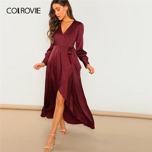 COLROVIE Borgogna scollo a V con cintura Wrap asimmetrico partito maxi Abbigliamento Donna 2020 Abito a vita alta a maniche lunghe Spring Green