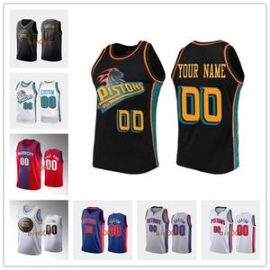 Özel DetroitPistonlarErkekler Kadınlar Kid% 100 nakış ŞEHİRNBA Derneği Bildirimi Simge basketbol forması S-6XL