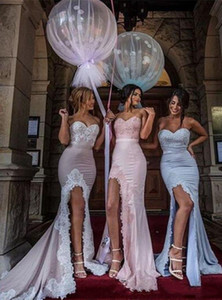 2020 Bridemaids Dresses Sexy Split Sweetheart Lace Applique Long Cheap Prom Dresses Sexy Junior Blush Bridal gowns