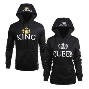 QUEEN KING Print Hooded Long Sleeve Couple Sweatshirt Casual Sexy Fashion Women Hoodies Full Letter Hoodie MX200613