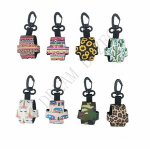 8 Styles protable hand sanitizer bottle cover for 30ml colorful neoprene cover with clip-on key chain soft printed perfume bottle cover