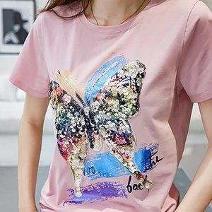 Femme Tshirt con paillettes T Shirt Shintimes Tee Shirt estate delle donne delle parti superiori T-shirt manica corta casuale Camisetas Mujer Verano 2020 T200716