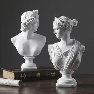 Escultura Europea Resina David Venus cabeza de la estatua Inicio Salón diosa Figurines Decoración de escritorio de oficina Muebles Crafts T200331