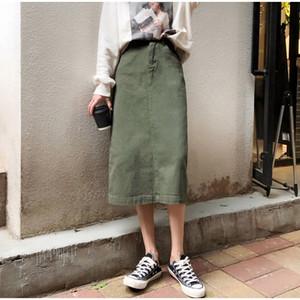Elegante A linha de cintura alta Denim Saias Mulheres Sólidos Botão Poket Vintage saia de Midi Feminino 2020 Senhora da forma Dividir Vestidos