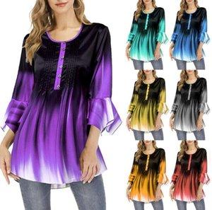 Women Clothes Blouses 2020 new gradient T-shirt Boutique Fashion women's petal long sleeve top plus size T-shirt 7 color S-5XL CZ708