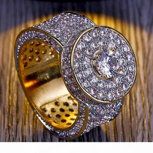 E Classic Mens Hip Hop Large 18k Real Gold Plating Rings Luxurious Cubic Zirconia Diamond Wedding Ring Gift