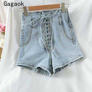 Gagaok Streetwear Kadınlar Denim Kısa 2020 Yaz Yeni Katı Yüksek Fermuar Bandaj İnce Casual Seksi Moda Vahşi Kore Şort
