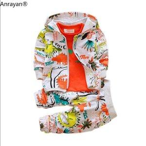 Autumn Outfits Baby Girls Clothes Sets Cute Infant Cotton Suits Hooded Zipper Jacket T Shirt Pants 3pcs set Boys Kids Clothing