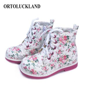 Ortoluckland corto botas de invierno ortopédica de bebé Zapatos de cuero de lujo zapatillas de deporte con cordones de primavera Blanco Otoño de impresión niñas cargadores del tobillo