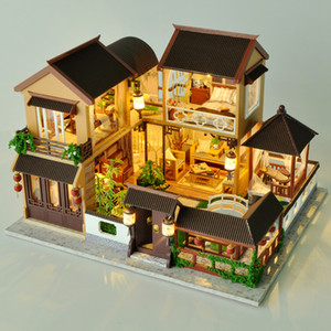 Kids Toys Diy Dollhouse Assemble Wooden Miniatures Doll House Furniture Miniature Dollhouse Puzzle Educational Toys For Children MX200414