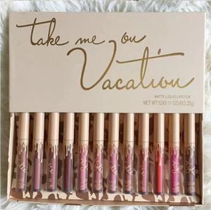 Dropshipping ГОРЯЧЕЙ нового макияж Дженнер Cosmetics отпуск издание Take Me On Vacation 12шт / коробка матовой жидкости комплект помады