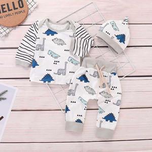 Neugeborenes Kind-Baby-Mädchen-Junge Kleidung gestreifte Tops + Karikatur-Dinosaurier-Hosen Kleidung Sets Baby-Strampler Pleasant Kinderkostüms