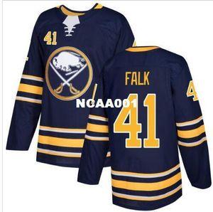 Real Men real Full embroidery #41 2017-18 New Season Buffalo Sabres 41 Justin Falk Hockey Jersey or custom any name or number Hockey Jersey