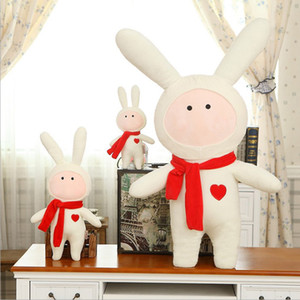 Long-Eared Rabbit Plush Toy Cute Scarf Rabbit Doll Valentines Day Gift Spot Wholesale