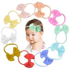2020 Baby Accessories Infant Baby Girl Cute Bow Headband Newborn Solid Headwear Headdress Nylon Elastic Hair Band Gifts Props