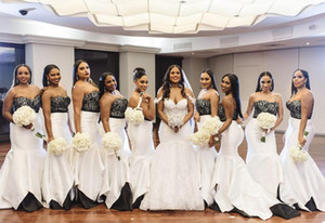Black and White Mermaid Bridesmaid Dresses Sweep Train Lace Garden Country Wedding Guest Party Gowns Maid of Honor Dress Custom 115