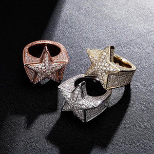 New pattern Five Star Ring Micro pave Inlaid Zircon Gold Silver Rose gold Color Ice Crystal Cubic Zircon Jewelry For Gift Ring